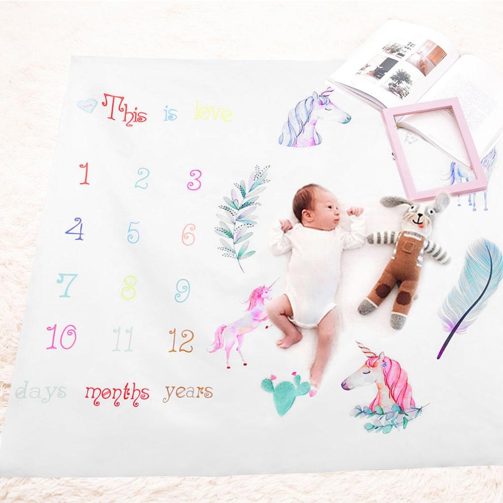 Infant Baby Milestone Blanket Photo Photography Prop Blankets Backdrop Cloth Calendar Bebe Boy Girl Photo Accessories 100x100cm