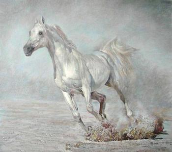 Pure Hand-painted Oil Painting The Running Of The White Horse No Frame