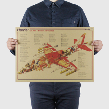 AIMEER Classic Fighter Series-Harrier-MK7/Nostalgic Vintage Kraft Paper Poster Decorative Painting Core Wall Stickers 51*36cm image