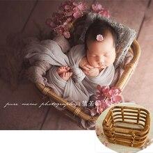 Panier rétro tissé à la main pour nouveau-né fille,fond de lit et de chaise pour séance photo, accessoires de photographie d'enfants,