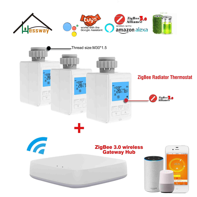 Batteries Programmable WIFI Smart Home Zigbee Radiator Thermostat For Wireless Gateway TUYA Zigbee Alliance