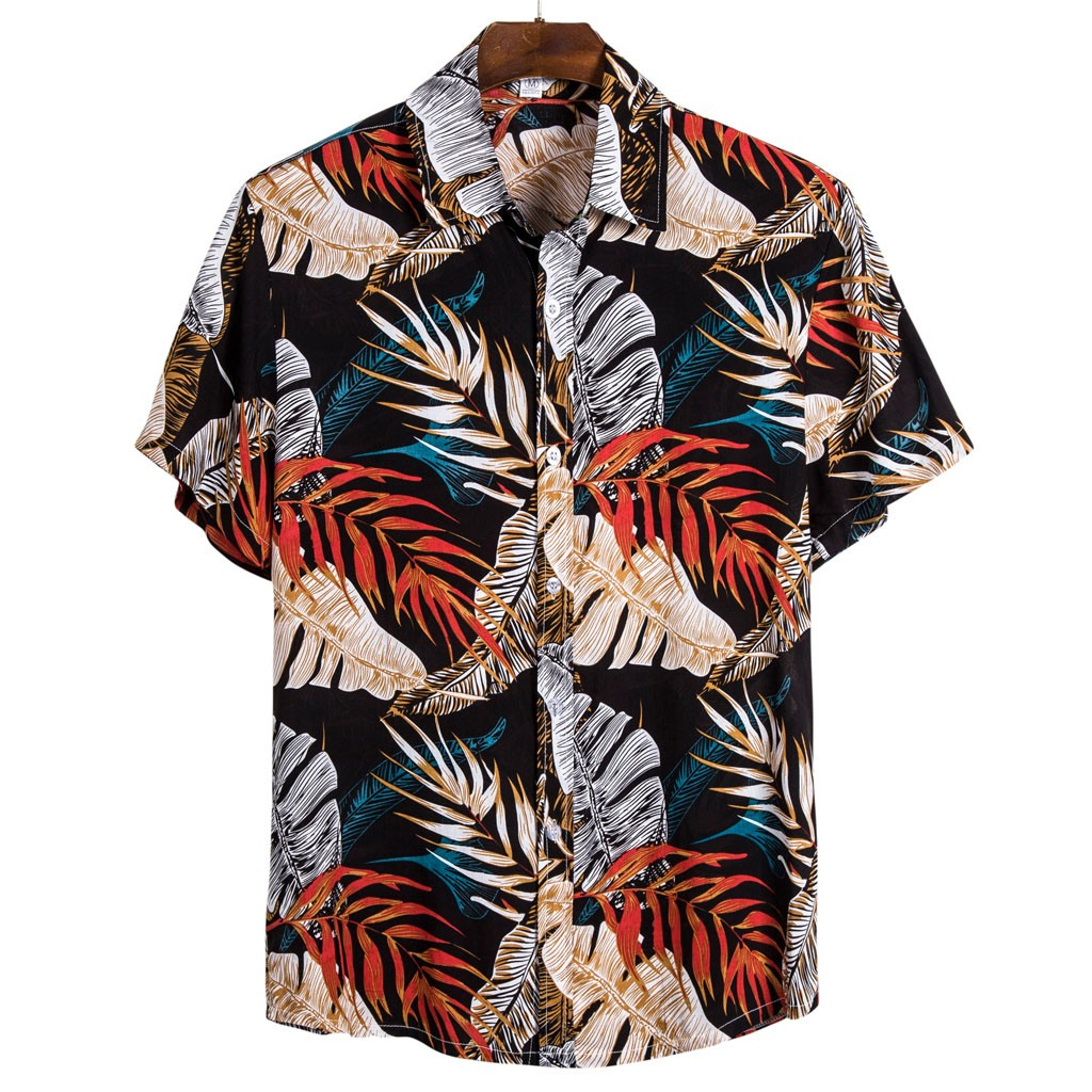Men Hawaiian Ethnic Short Sleeve Casual Printed Shirt Blouse Plus Size M-3XL Shirts Camisa Social Masculina 2020 Summer Camisas