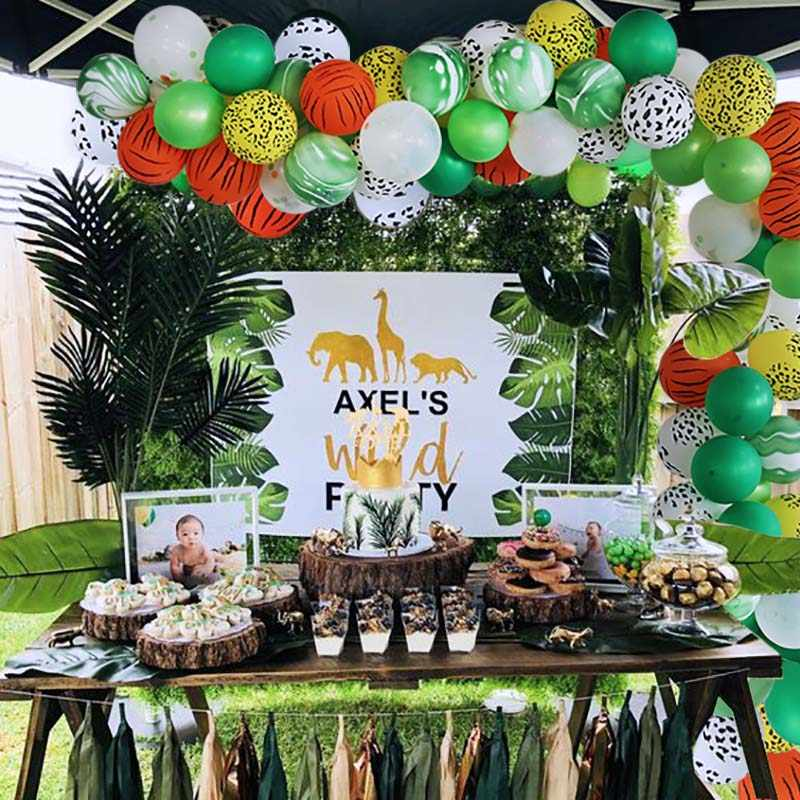 ซาฟารีปาร์ตี้ตกแต่ง Lion Tiger สัตว์บอลลูนวันเกิดตกแต่งเด็ก Babyshower Hawaiian Jungle Party ตกแต่ง