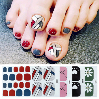 1 Pcs Full Cover Toenail Sticker Geometric Mixed Pattern Nail Wraps Beauty Design Waterproof Mixed Size Toe Nail Art Decoration