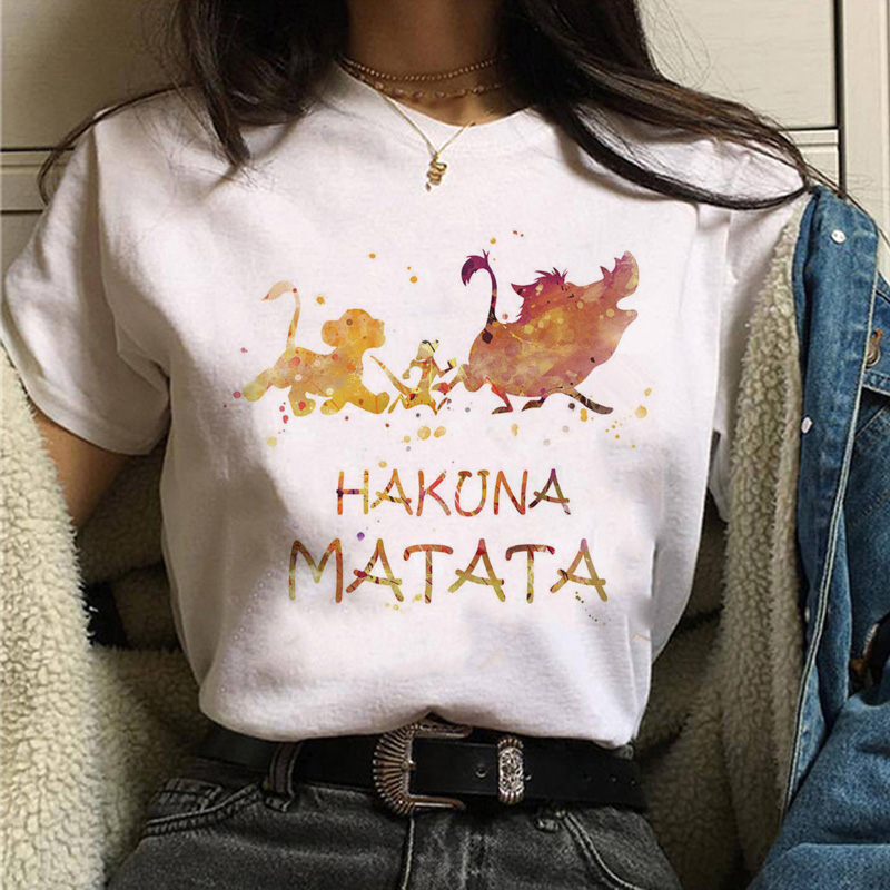 <font><b>The</b></font> <font><b>Lion</b></font> <font><b>King</b></font> Hakuna Matata <font><b>t</b></font> <font><b>shirt</b></font> harajuku <font><b>women</b></font> ulzzang tshirt 90s Summer print top tee <font><b>t</b></font>-<font><b>shirt</b></font> funny Casual female Homme image
