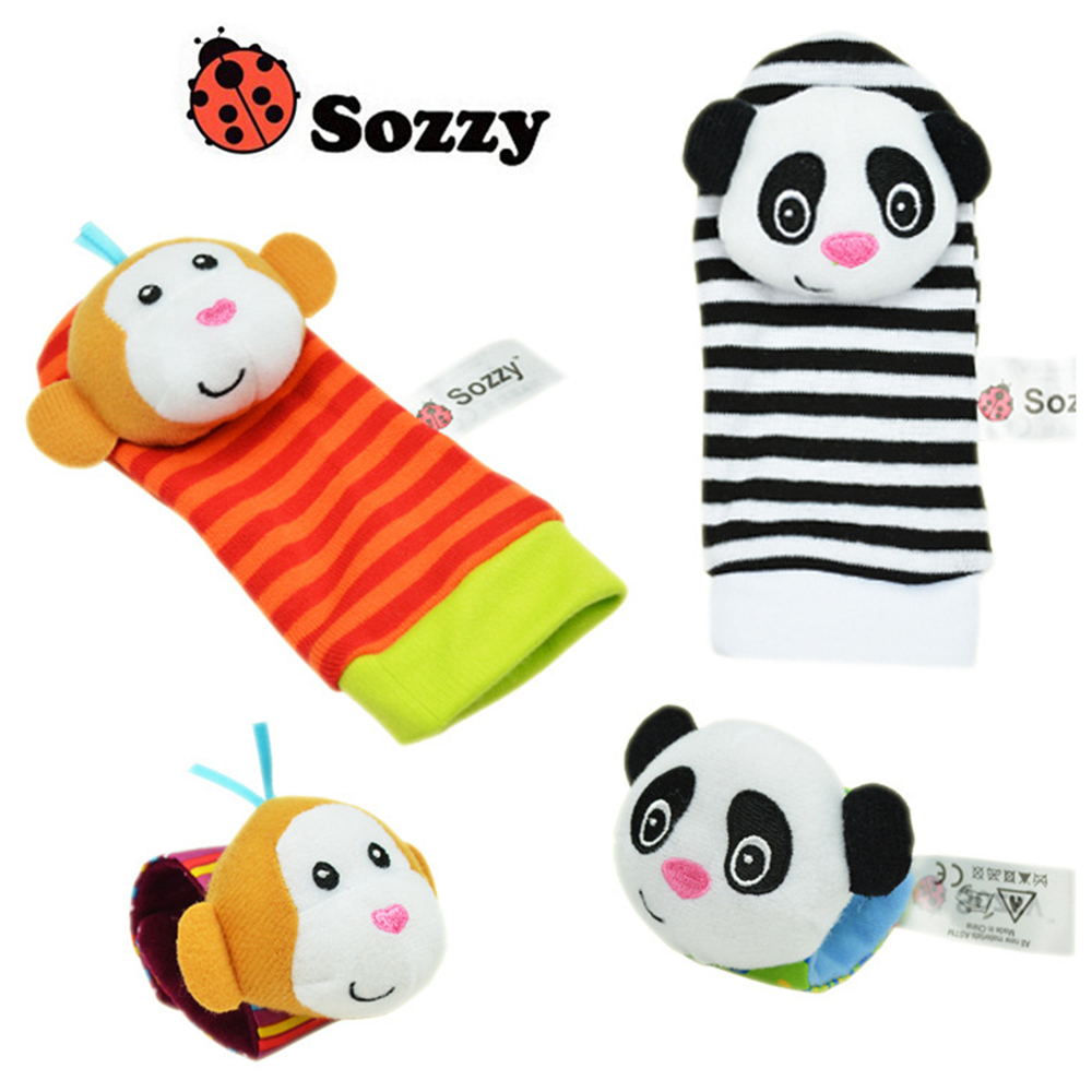 Cartoon Baby Rattle Toys 0-12 Months Soft Animal Baby Rattles Children Infant Plush Sock Baby Toy Wrist Strap Baby Rattle Toy