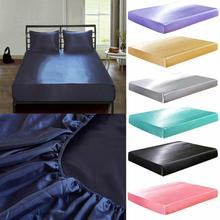 18 Faroot Satin Silk Bed Fitted Sheet Elastic Sheets Polyester Cotton Single Twin Full Queen King