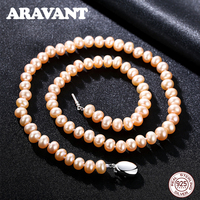 925 Sterling Silver Necklaces Real Natural Freshwater Pearl Necklace For Women 3 Colors 8 9mm Near Round Pearl Jewelry Gift