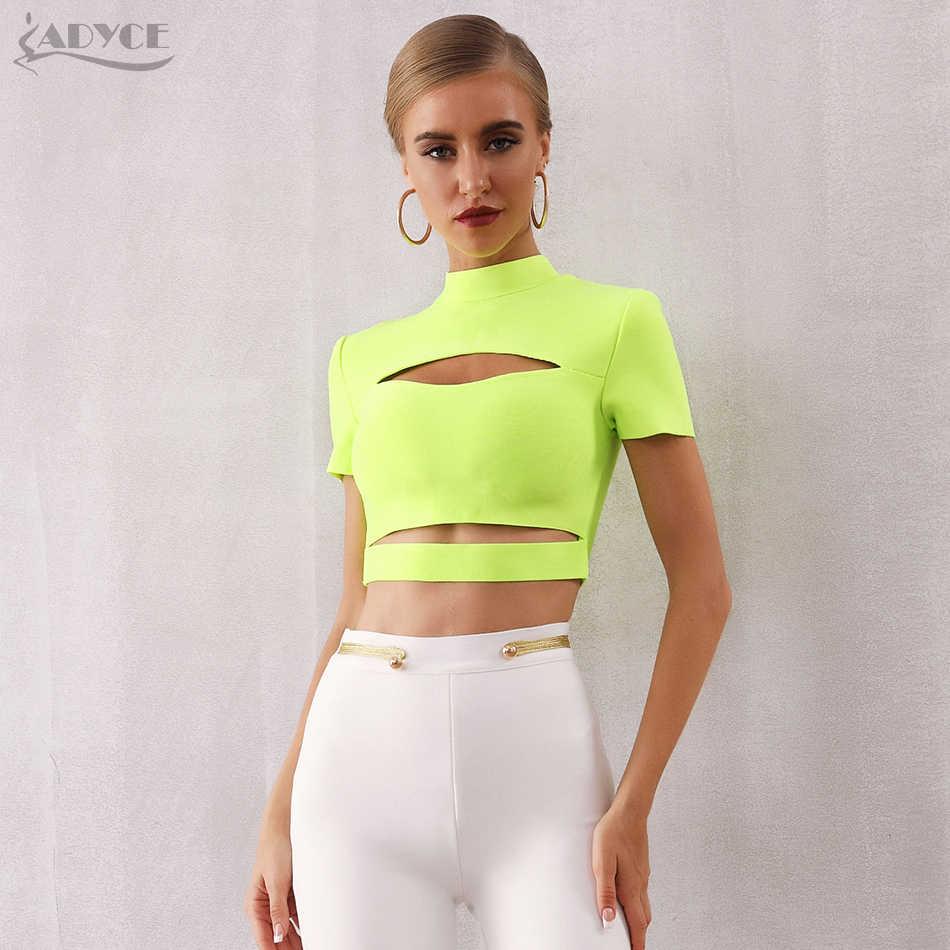 ADYCE 2019 nowy lato kobiety bandaż Top bluzki damskie-modne i eleganckie Sexy mocno Lady Hollow Out z krótkim rękawem stałe zielony czarny zbiornik crop Tops