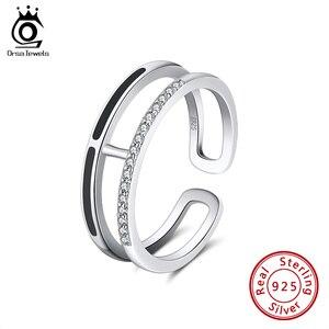 ORSA JEWELS Аутентичные 925 кольца с эмалью для женщин, AAAA, циркон, серебро, юбилей, вечерние, штабелируемые кольца, хорошее ювелирное изделие SR158