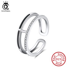 ORSA JEWELS Authentic 925 Enamel Rings For women AAAA Zircon Sterling Silver Anniversary Party Stackable Ring Fine Jewelry SR158(China)