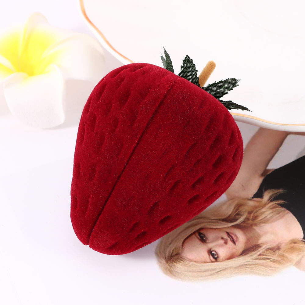 1 PC Red Strawberry Jewelry Box Velvet Ring Storage Case Jewelry Box Ring Protector Flocking Gifts Box