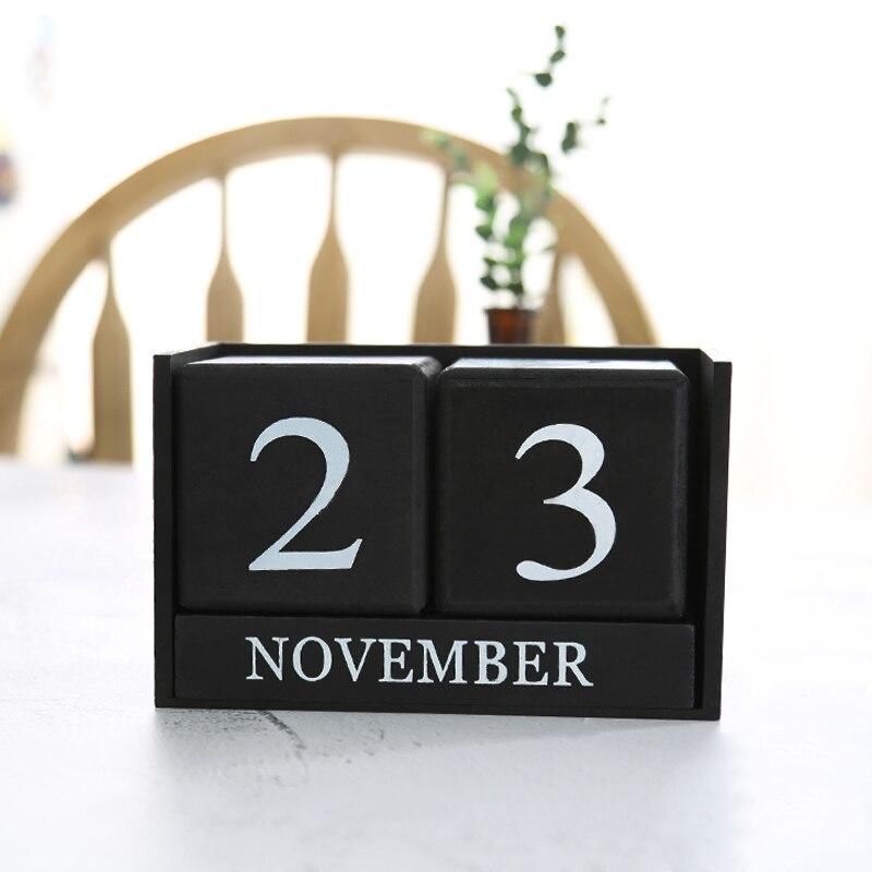 Vintage Wooden Perpetual Desk Calendar Block Planner Permanent Desktop Organizer DIY Agenda GY88