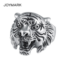 Antique Tone Tiger 925 Sterling Silver Ring For Men Punk Style Finger Rings High Quality Male Fashion Jewelry TSR109