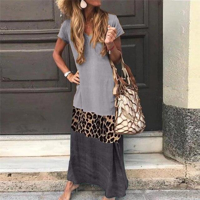 NEDEINS Summer Beach Print Long Dress Women Leopard Boho V-neck Short Sleeve Dress Plus Size Dresses for Woman 4xl 5xl 3