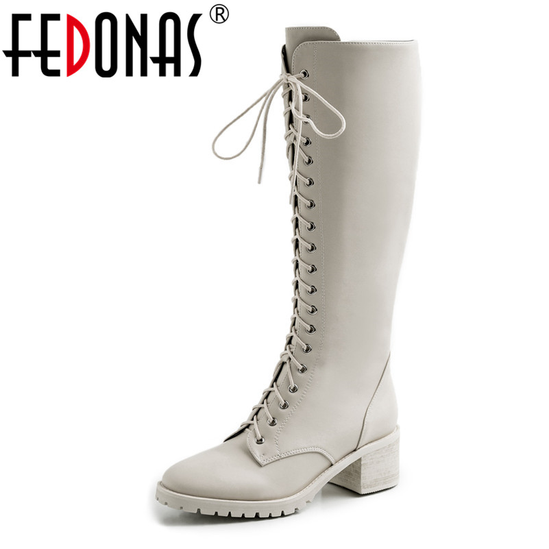 FEDONAS New Brand Women Warm Autumn Winter Knee High Boots Platform Night Club Long Shoes Woman Genuine Leather Motorcycle Boots