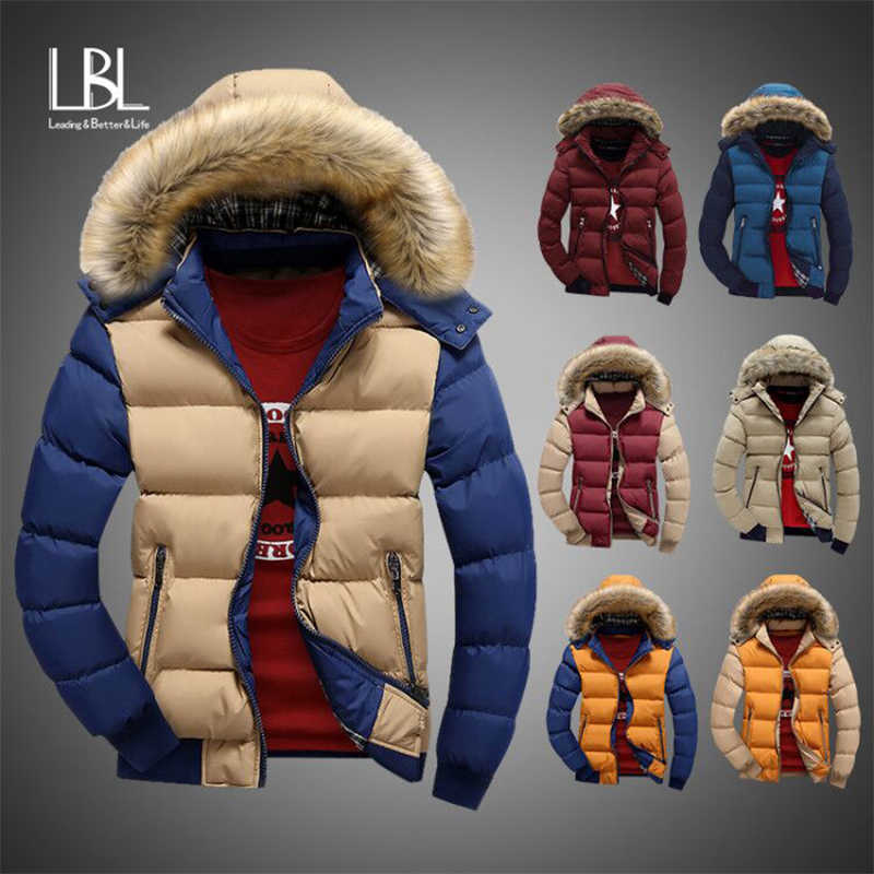 Mens Coats With Fur Hooded 2019 Winter Fleece Jackets Men Slim Thicken Outwear Warm Coat Top Brand Clothing Casual Men's Jackets