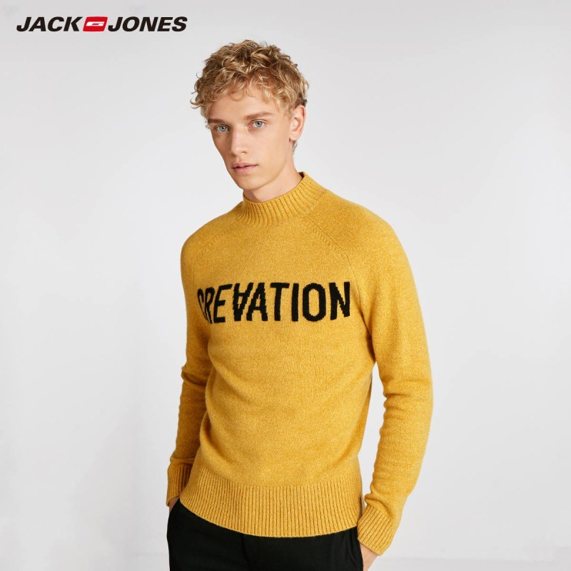 JackJones Men's Trend Floral Woven Casual Sweater Top Wool Letter Print Menswear Style 218324558