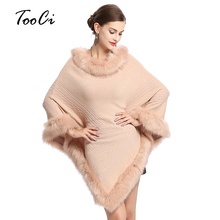 Осенние и зимние женские кейпы пончо из искусственного лисьего меха шаль вязаный треугольный меховой свитер с круглым вырезом пуловер пальто меховой воротник