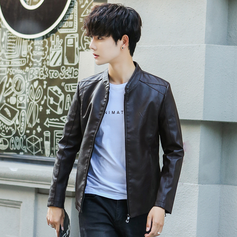 PU Leather Jacket Young MEN'S Slim Fit Korean-style Coat 2018 Autumn And Winter New Style Fashion Man Handsome Locomotive MEN'S