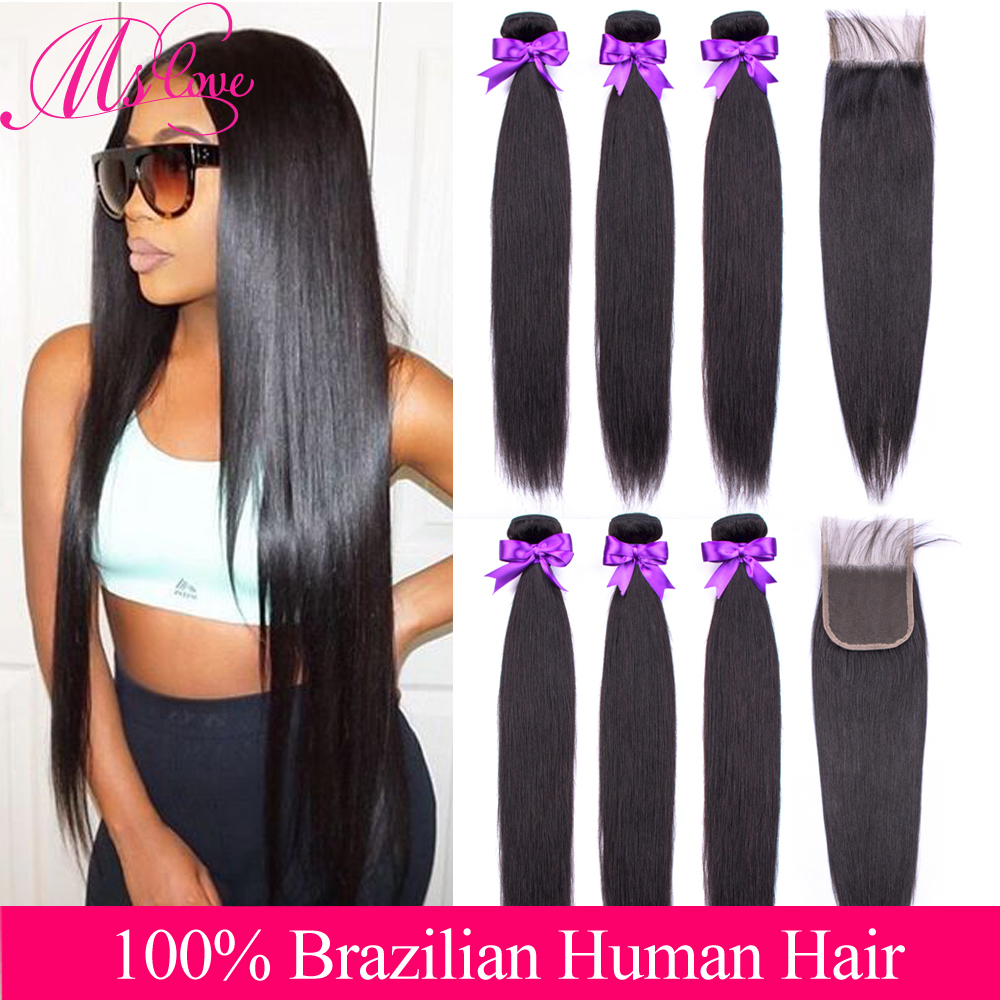 Human Hair Bundles With Closure Straight Hair 3 Bundles With Closure Brazilian Hair Weave Bundles Non-Remy Hair Mslove