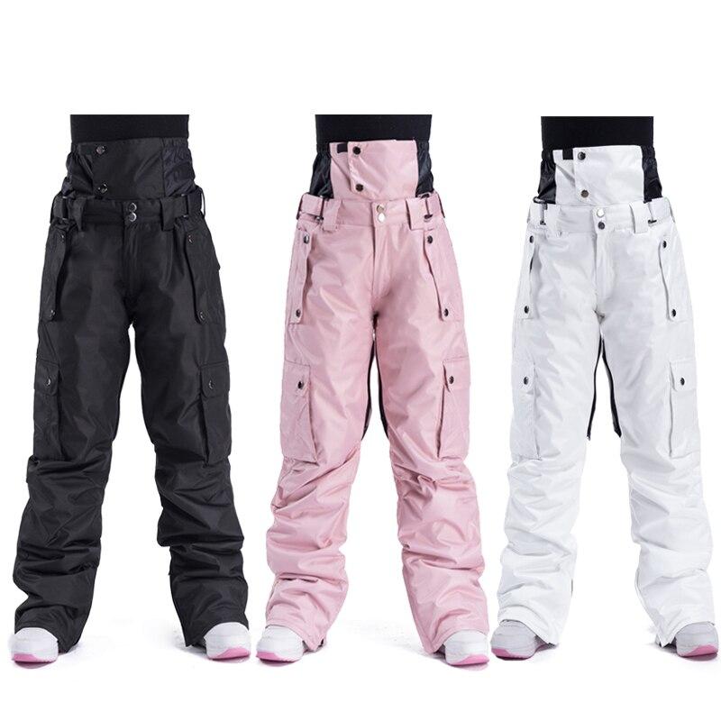 Лыжные штаны для мужчин и женщин, уличные высококачественные ветрозащитные водонепроницаемые теплые зимние брюки для пар, брендовые штаны ...