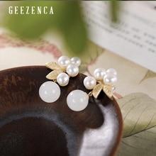 925 Sterling Silver Gold-plated Hetian White Jade Pearl Flower Stud Earrings Original Designer Trendy Earring Fine Jewelry Women