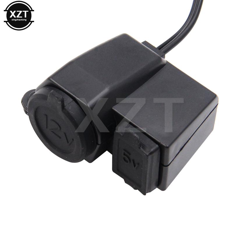 Black Waterproof 12V Motorcycle Cigarette Lighter Socket with 2.1A <font><b>USB</b></font> Power Port Adaptor Outlet Socket <font><b>Charger</b></font> For YAMAHA <font><b>BMW</b></font> image