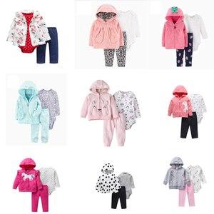 Image 1 - 女の赤ちゃん服ロングスリーブフードジャケット + 漫画ユニコーンロンパース + パンツ新生児衣装のファッション2020幼児服セット6 24m