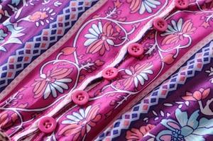 Image 5 - Vintage chique feminino roxo floral impressão manga curta borla babados boêmio maxi vestidos das senhoras com decote em v rayon boho happie vestido