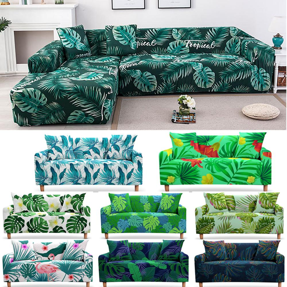 Elastic Nordic Leaves Slipcovers Sofa Cover Tropical Plants for Living Room Sectional L Shape Sofa Couch