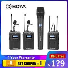 Boya BY-WHM8 pro microfone portátil sem fio wm8 pro uhf unidirecional transmissor de microfone dinâmico para a fase filme receptor eng