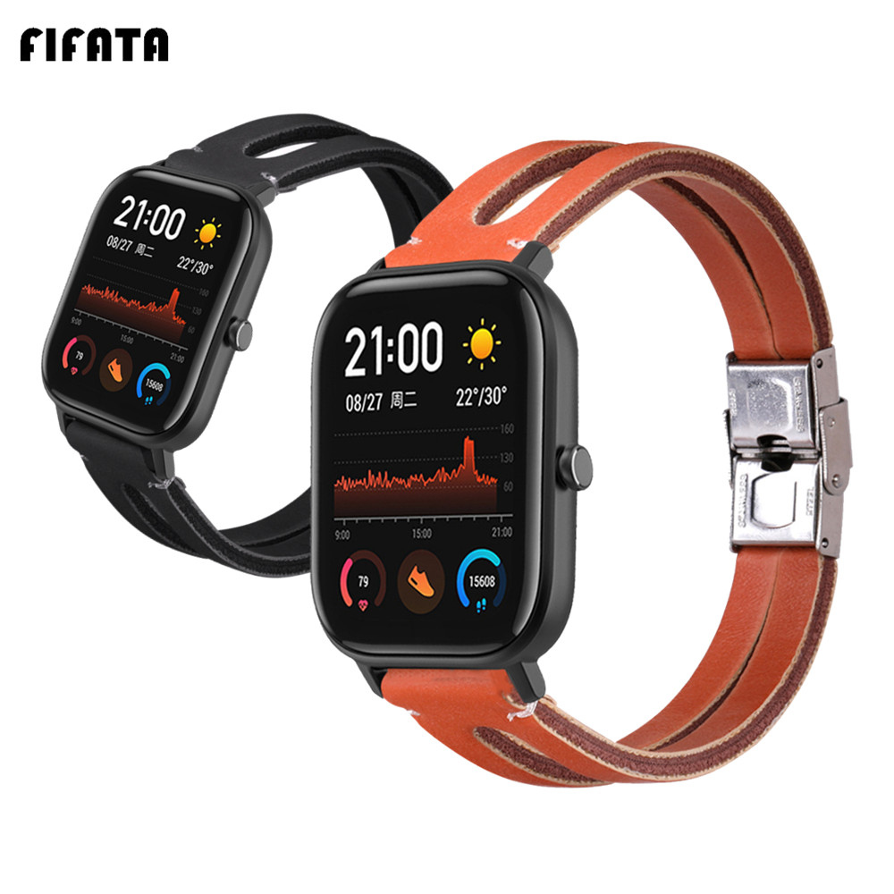 FIFATA Bracelet For Xiaomi Huami Amazfit GTS BIP GTR 42mm Genuine Leather Wrist Strap Smart Watch Replacement Bands Accessories