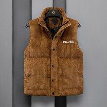 Chaleco grueso de pana para hombre, chaqueta sin mangas con cuello de tortuga, abrigos cálidos con relleno de algodón y letras con Logo, chaleco entallado de invierno para hombre