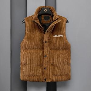 Image 1 - Mens Thicken Waistcoat Corduroy Sleeveless Jacket Men Turtleneck Cotton Padded Warm Coats Letter Logo Slim Fit Winter Vest Men
