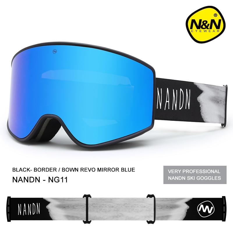NANDN лыжные очки двухслойные UV400 Анти туман большой Лыжная маска очки Лыжный Снег Мужчины Женщины Сноуборд очки - 6