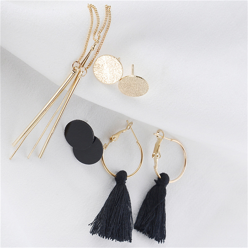 8 Pairs set Fashion Tassel Round Stud Earrings Set for Women Trendy Mixed Black Acrylic Statement Korean Long Earrings Sets in Drop Earrings from Jewelry Accessories
