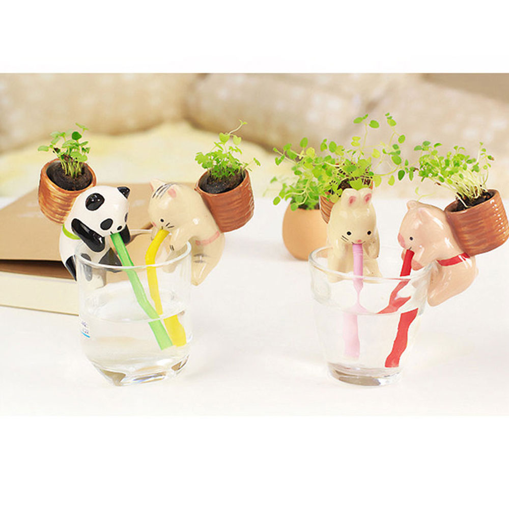 With Seeds Practical Cute Creative Automatic Watering System Animal Planter Pot Bonsai Straw Ornaments Self Watering Device