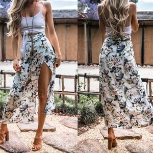 Long Skirt For Women Summer Boho Long Maxi skirt Party Beach Floral Skirts Ladies Print Beach Split maxi skirts faldas mujer