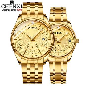 цена CHENXI Gold Wrist Watch Men Watches Lady Top Brand Luxury Quartz Wristwatch For Lover's Fashion Dress Clock Relogio Masculino онлайн в 2017 году