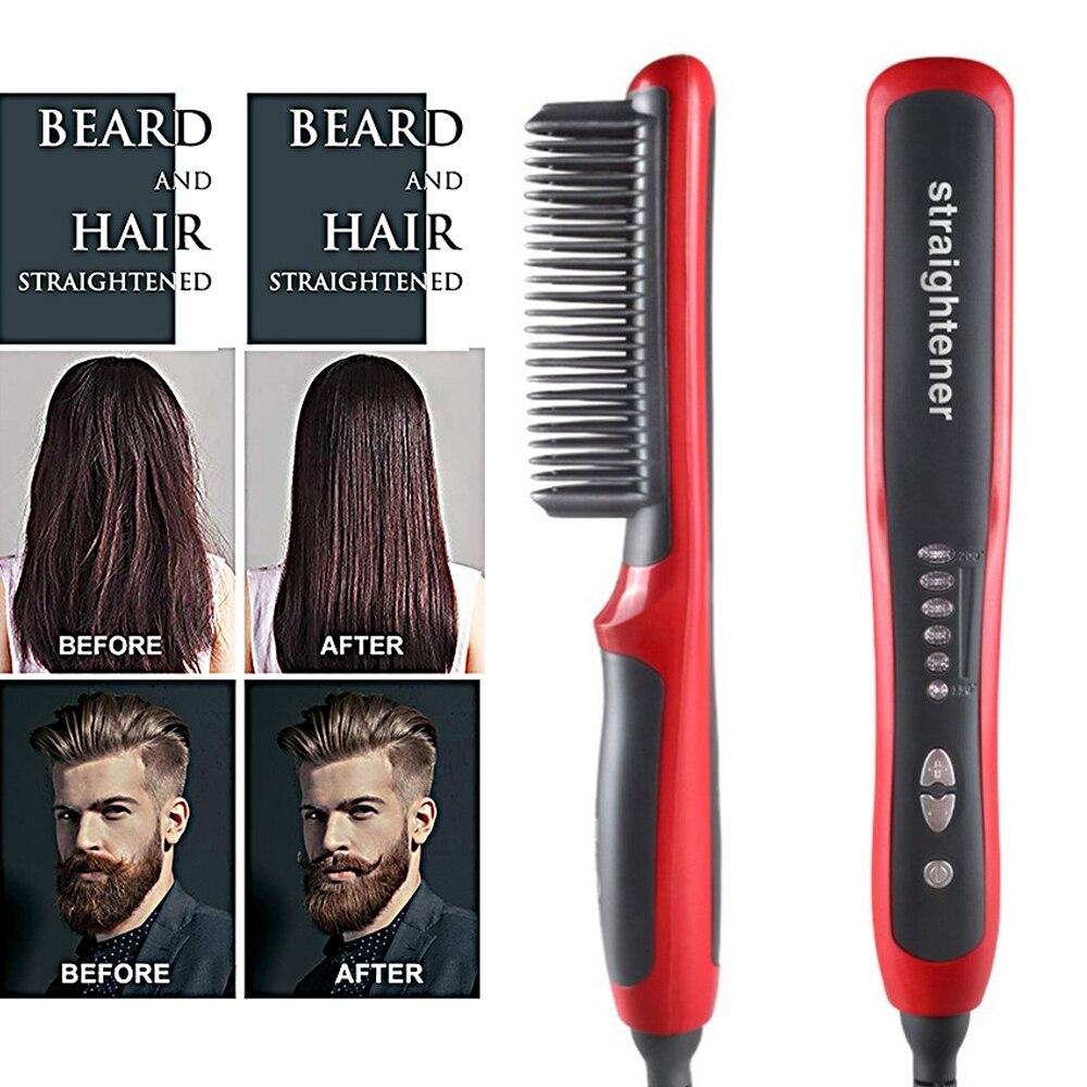 Multifunctional Men Beard Straightener Comb Anti-Scald Hair Straightening Brush Comb Fast Heating Hair Straightener