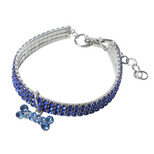 Pet-Decorations Dog-Accessories Puppy-Cat-Collar Elasticity Bling Crystal Adjustable