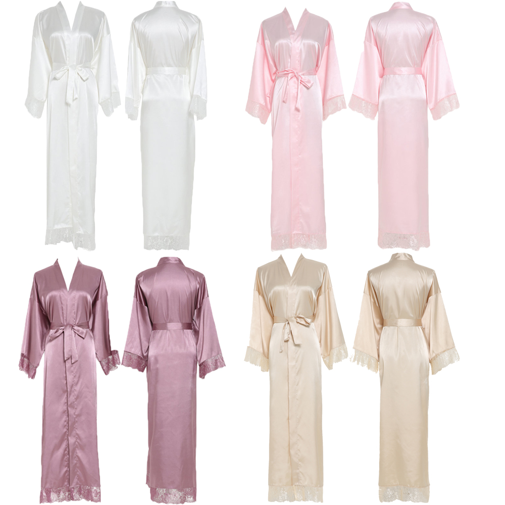 YUXINBRIDAL 2019 New Silk Satin Lace Robes  Bridesmaid Bride Robes Wedding Long Robe Bathrobe Womens Robe  Lingerie Robe