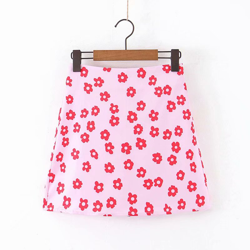 Women Fashion Floral Print Pink A Line Skirt Faldas Mujer Ladies Back Zipper Vacation Style Vestidos Chic Mini Skirts QUN559
