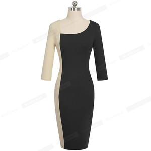 Image 5 - Nice forever Elegant Contrast Color Patchwork Office vestidos Business Party Bodycon Sheath Women Dress B546