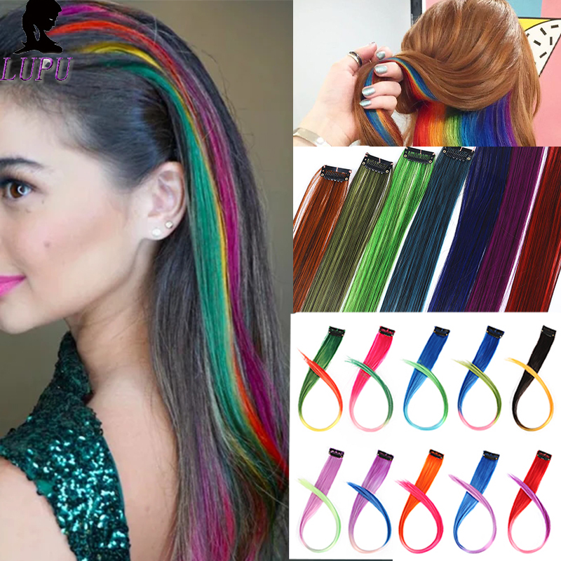 LUPU Colorful Ombre Long Straight Hair Extensions Synthetic Heat Resistant Fake Hair Pieces Single Clip In One Piece For Women