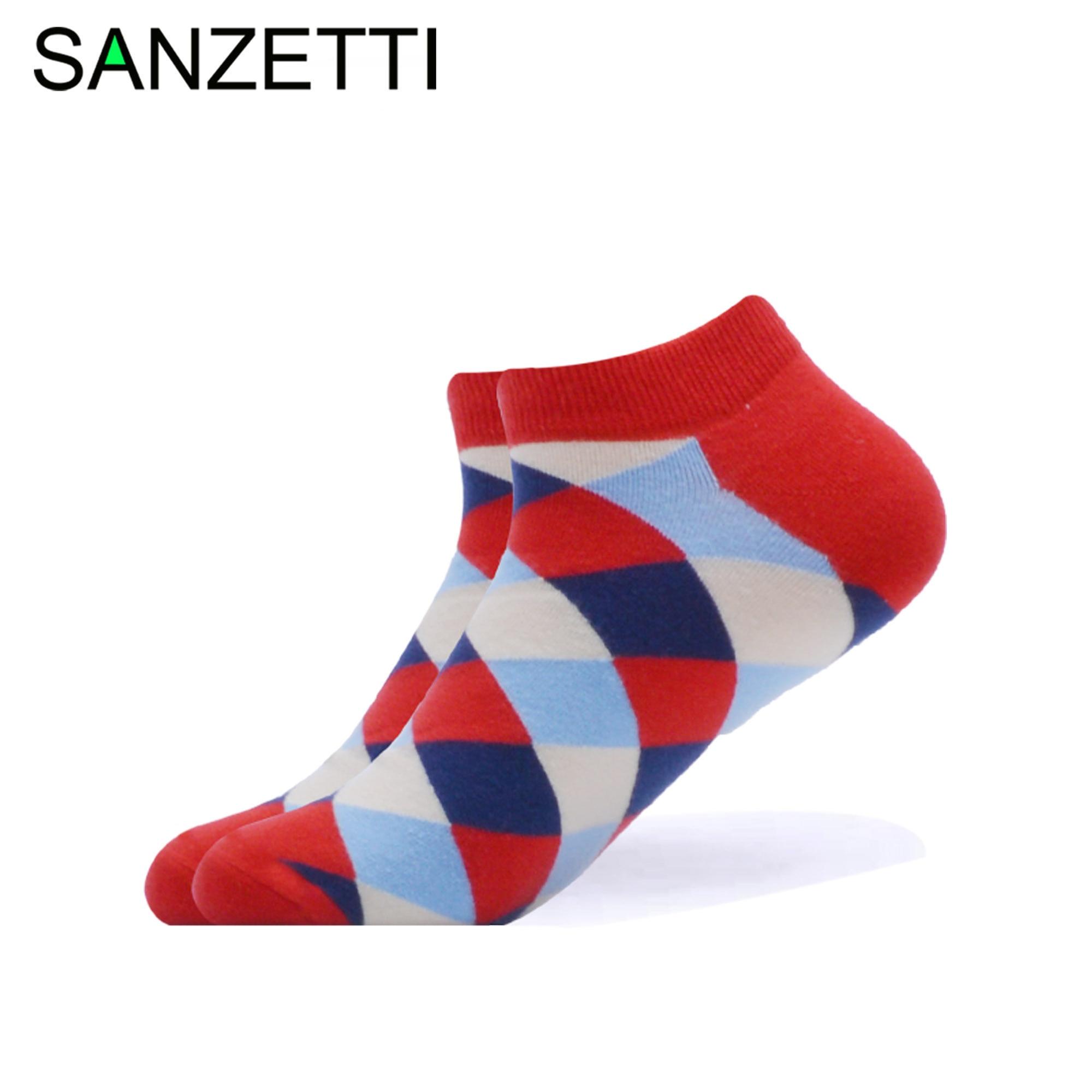 SANZETTI 1 Pair 2020 New Men's Summer Casual Ankle Socks Colorful Combed Cotton Socks Burger Pattern Dress Wedding Boat Socks