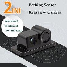Araba parktronik 2In1 tasarım kamera park sensörü kiti oto geri dikiz yedekleme park Radar 170 derece dikiz kamera