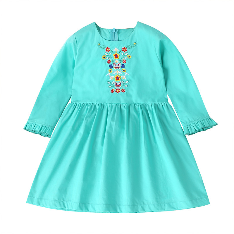 Spring Summer Girl dress Kids embroidery flowers princess dress Long sleeve little Girls Clothes 1 2 3 4 5 6Years Old Kids