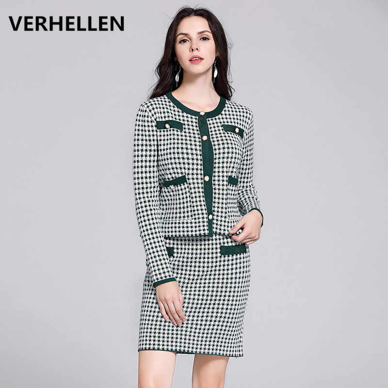 VERHELLEN Two Piece Set Women 2019 Autumn Women's Long Sleeve Houndstooth Sweater Knitted Cardigan and Skirt Suit Sets